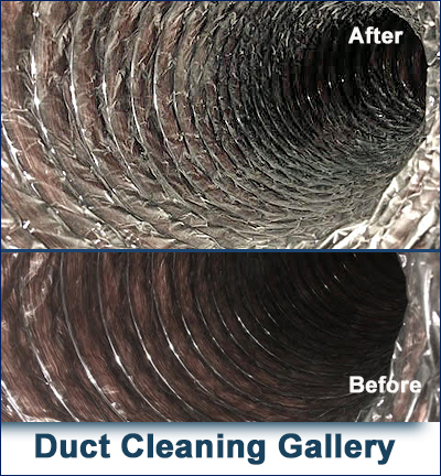 Duct before and after being cleaned