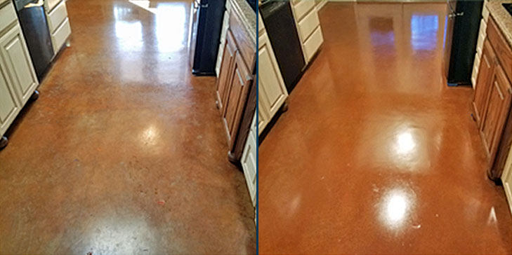 Concrete floor polishing before after