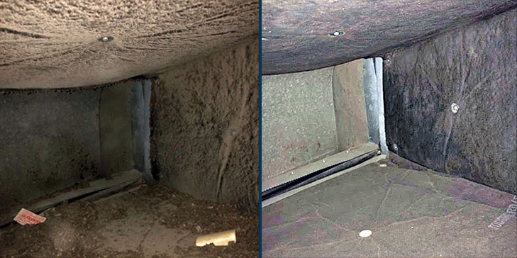 Duct cleaning before after