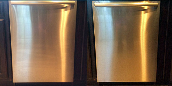 Stainless steel dish washer before after being cleaned