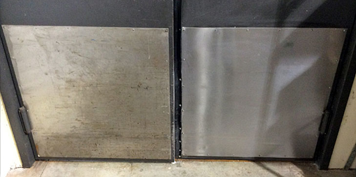 Stainless steel door before after being cleaned