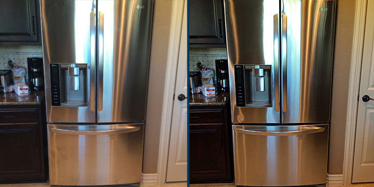 Stainless steel refrigerator before after being cleaned