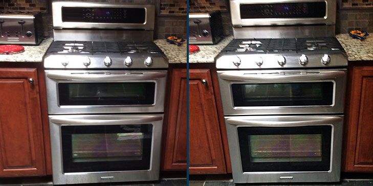 stainless steel stove before after being cleaned