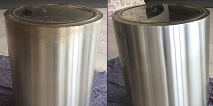 Stainless steel trashcan before after being cleaned