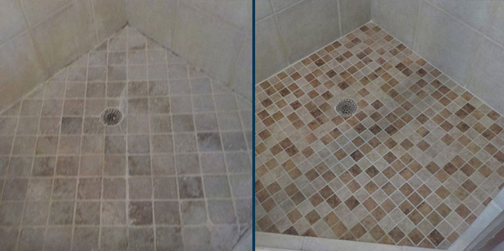 Tile and grout cleaning before after