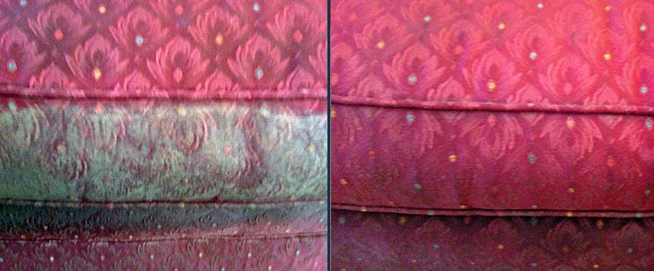 Upholstery before after being cleaned