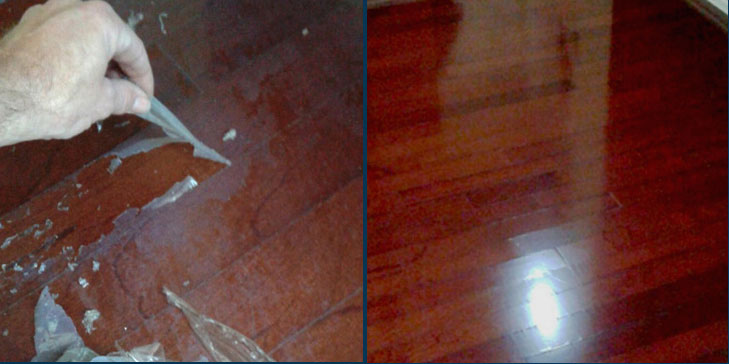 Wood floor before after revitalizing